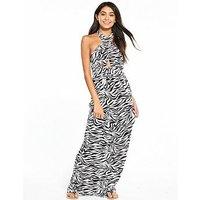 V by Very Keyhole Halter Neck Jersey Printed Beach Maxi Dress - Zebra, Zebra Print, Size 22, Women