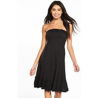 V by Very Strapless Jersey Frill Beach Dress - Black , Black, Size 14, Women