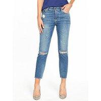Tommy Jeans Hilfiger Denim High Rise Slim Izzy Ripped Jean, Street Mid Blue, Size 10=28, Inside Leg 30, Women