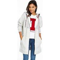 Tommy Jeans Long Hoodie Long Sleeve Sweat - Light Grey Heather, Light Grey Heather, Size 10=S, Women