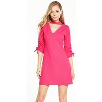 V by Very Crepe Ruched Detail Choker Dress - Hot Pink, Hot Pink, Size 8, Women