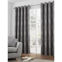 Product photograph showing Curtina Elmwood Jacquard Lined Eyelet Curtains