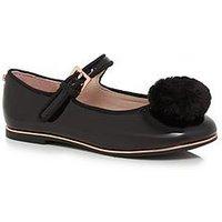 Baker by Ted Baker Older Girls Pom Pump Shoe - Black, Black, Size 1 Older