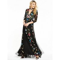V by Very Embroidered Maxi Dress, Black, Size 10, Women