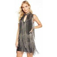 V by Very Fringed Embellished Mini Dress, Pewter, Size 10, Women