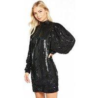 V by Very Volume Sleeve Embellished Dress, Black, Size 18, Women