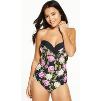 V by Very Shapewear Underwired Pleated Cup Swimsuit, Floral, Size 32D, Women