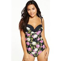 V by Very Shapewear Underwired Pleated Cup Tankini Top, Floral, Size 32D, Women