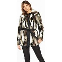 V by Very Faux Fur PU Trim Coat, Multi, Size 12, Women