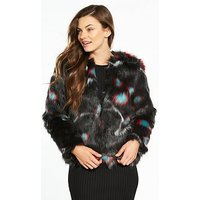 V by Very Short Faux Fur Jacket, Black/Red, Size 8, Women