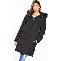 V by Very Long Padded Coat With Faux Fur Hood, Black, Size 12, Women