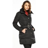 V by Very Belted Funnel Neck Padded Coat - Coat, Black, Size 12, Women