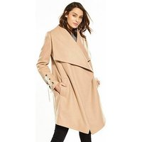 V by Very Eyelet Detail Waterfall Coat - Camel, Camel, Size 10, Women