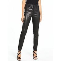V by Very Real Leather Skinny Trouser, Black, Size 10, Women