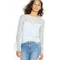 V by Very Petite Long Sleeve Lace Yoke Jersey Top, Ice Blue, Size 6, Women