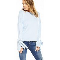 V by Very Eyelet Tie Sleeve Jumper, Soft Blue, Size 10, Women