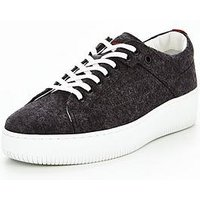 Hugo Boss margaret-ft flatform plimsoll, Grey, Size 3, Women