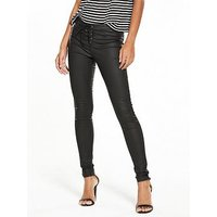 V by Very Coated Lace Up Fly Skinny Jean, Black Coated, Size 16, Women