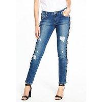 V by Very Pom Pom Side Detail Jean - Vintage Wash, Vintage Wash, Size 10, Women