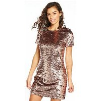 V by Very Petite Premium Sequin Shift Dress, Pink/Silver, Size 10, Women