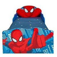 Product photograph showing Spiderman Spiderman Light Up Toddler Bed With Underbed Storage By Hellohome
