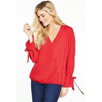 V by Very Tie Sleeve Wrap Blouse, Red, Size 10, Women