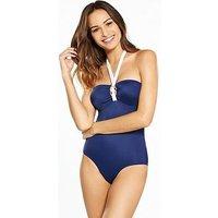 DORINA Fiji Bandeau Rose Gold Detail Swimsuit - Navy, Navy, Size 8, Women