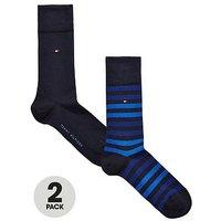 Tommy Hilfiger 2pk Stripe Sock, Dark Navy, Size 6-8, Men
