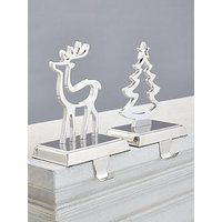 Product photograph showing Gisela Graham Nickel Plated 2 Pack Stocking Hangers Tree Deer