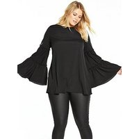 AX PARIS CURVE Double Frill Floaty Sleeve Top, Black, Size 22, Women