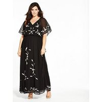 V by Very Curve Embroidered Maxi Dress - Black, Black, Size 26, Women
