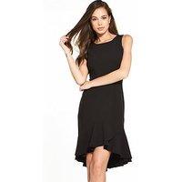 Closet Fluted Hem Sleeveless Dress, Black, Size 8, Women