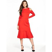 Closet Cold Shoulder Long Sleeve Dress, Red, Size 12, Women