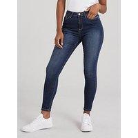 V by Very Florence High Rise Skinny Jeans - Indigo, Indigo, Size 18, Inside Leg Regular, Women