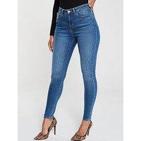 V by Very Short Florence High Rise Skinny, Mid Wash, Size 20, Inside Leg Short, Women