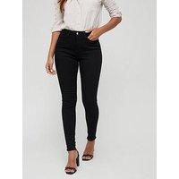 V by Very Short Florence High Rise Skinny, Black, Size 8, Inside Leg Short, Women