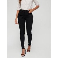 V by Very Florence High Rise Skinny, Black, Size 14, Inside Leg Long, Women