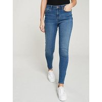 V by Very Denni Mid Rise Skinny, Mid Wash, Size 8, Inside Leg Regular, Women