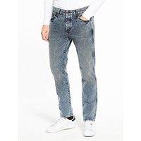 Wrangler Boyton Regular Tapered Jeans, Box Blue, Size 34, Length Short, Men
