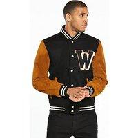 Wrangler Suede Baseball Jacket, Black, Size 2Xl, Men