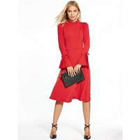 V by Very Jersey Tie Sleeve Midi Dress, Red, Size 12, Women