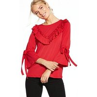 V by Very Jersey Ruffle Tie Sleeve Top - Red, Red, Size 10, Women