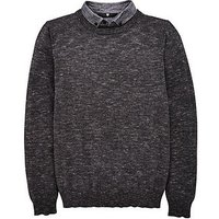 Boys, V by Very Knit Jumper And Mock Shirt, Charcoal, Size Age: 14 Years