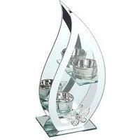 Hestia Glass And Mirror Flame Shaped Double Tea Light Holder