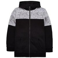 Boys, V by Very Camouflage Zip Hoodie, Black/Grey, Size 11 Years