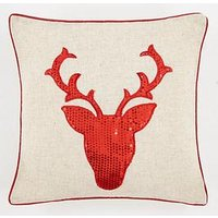 Product photograph showing Cascade Home Sequin Stag Cushion