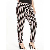 V by Very Curve Stripe Tapered Leg Trouser, Stripe, Size 28, Women