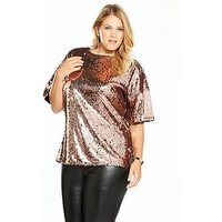 V by Very Curve Sequin Top - Rose Gold, Rose Gold, Size 26, Women