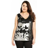 V by Very Curve Sequin Cami - Pewter, Pewter, Size 16, Women