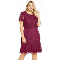 V by Very Curve Double Layer Lace Dress - Raspberry, Raspberry, Size 26, Women